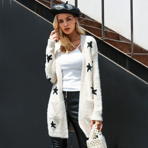 Image of Women's Loose Fit Casual Cardigan Sweater Coat White Stars