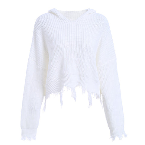 Knitted Long Sleeve Pullover Women's Sweater Tassel Trim