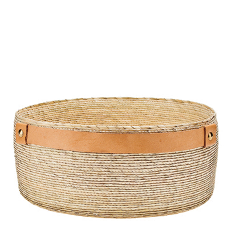 Palm Straw Bowl with Leather Details (BSH1023)