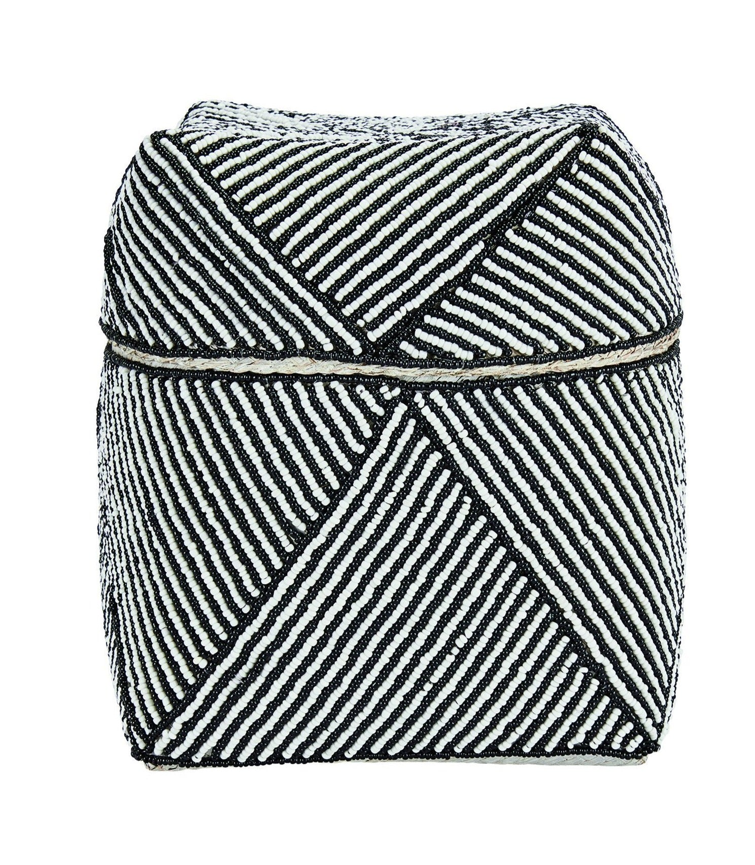Black medium stripe pattern beaded basket (BSH1067)