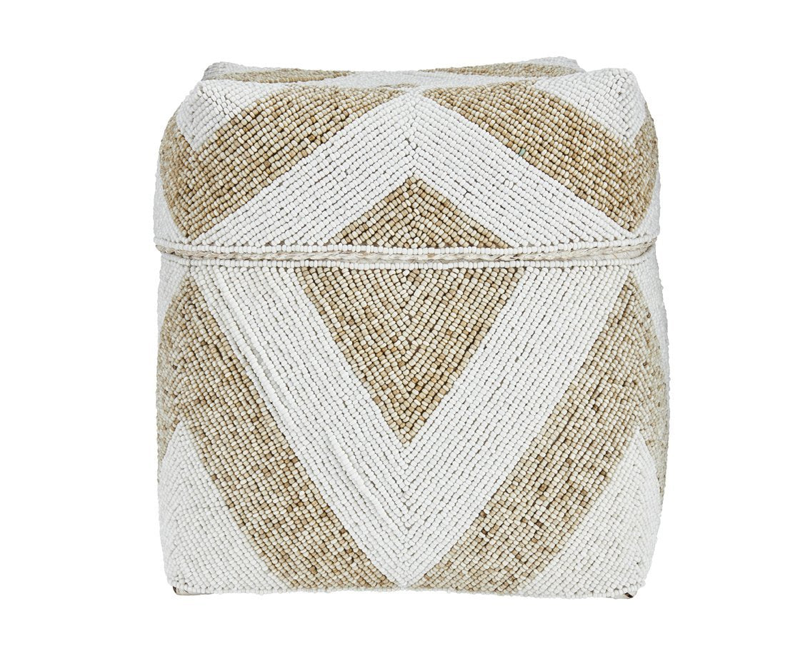 Large diamond pattern beaded basket (BSH1069)
