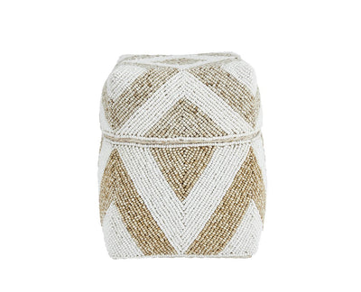 Small diamond pattern beaded basket (BSH1071)