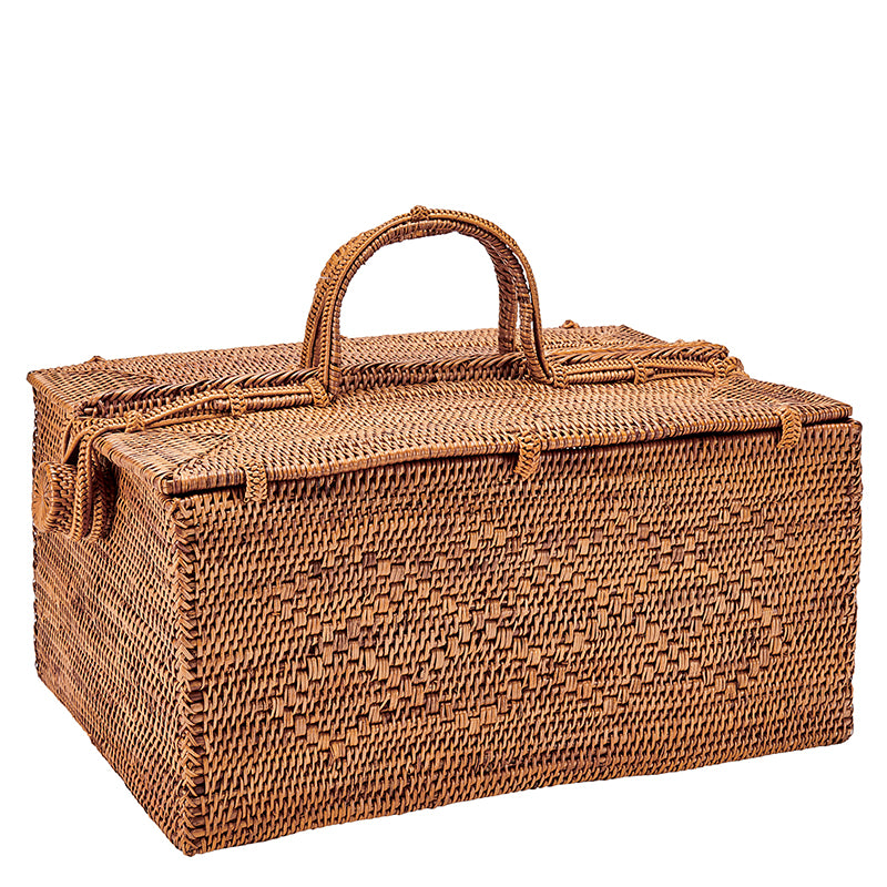 Handwoven Ata Reed Basket with Handles (BSH2006)