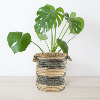 Round Woven Basket with Striped Pattern - (BSH3006)