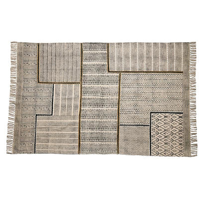 Destressed Block Print Area Rug  -  Natural/Black  (Bsh4006)