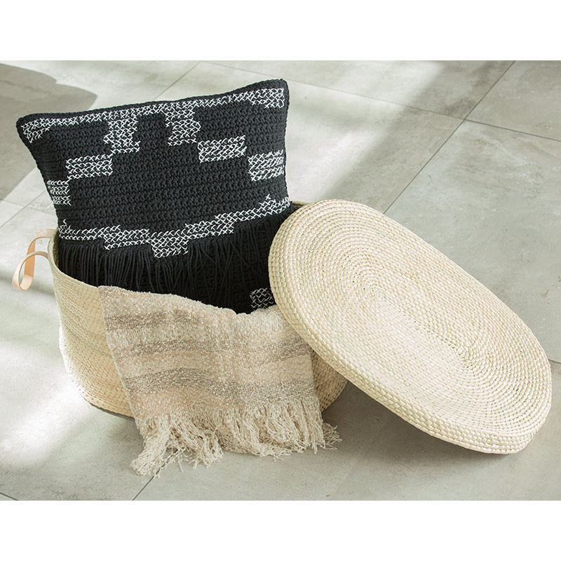 Artisan Hand Crochet Palm Basket with Lid (BSH5004)