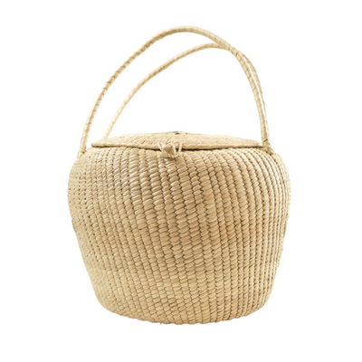 Artisan Crochet Oval Basket With Lid & Handles (Bsh5010)
