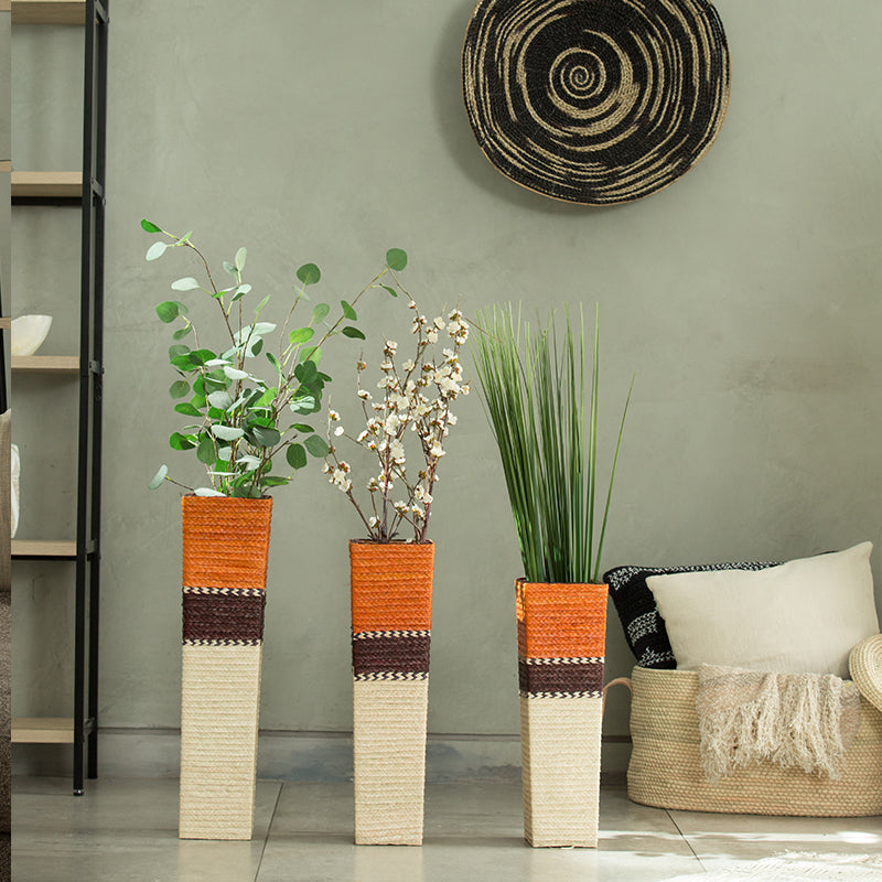 Artisan Palm Straw Decorative Vase Set Of 3 (Bsh5016)