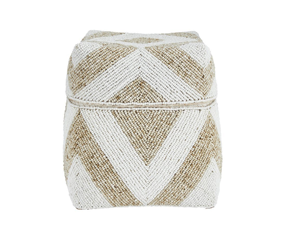 Basket - Medium Diamond Pattern Beaded Basket (BSH1070)