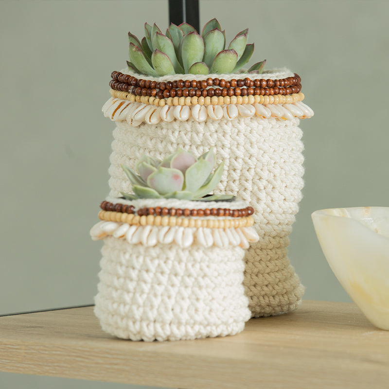 Crochet 3 piece basket with wooden beads & shell (BSHSET1079)