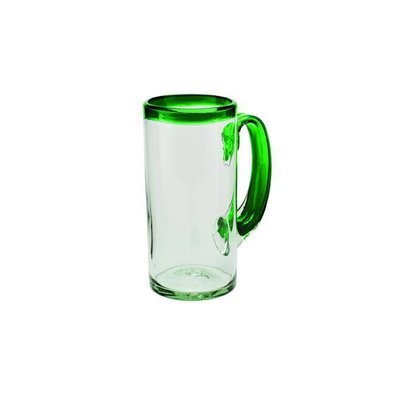 Glassware - Beer Glass W/ Pop Color Rim (Set Of 2) (BSH1034)