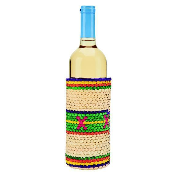 Home Crochet Palm Straw Slim Wine Holder (BSH1008)
