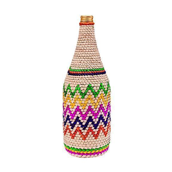 Home Crochet Palm Straw Wrapped Glass Bottle (BSH1009)