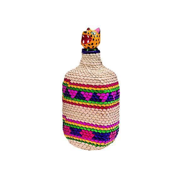 Home Crochet Palm Straw Wrapped Glass Bottle (BSH1010)