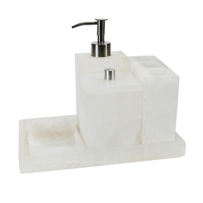 White Marble Bathroom Set of Five (5) - (BSH5021)