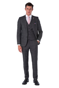 ALBIE Grey Check Three Piece Suit - Front