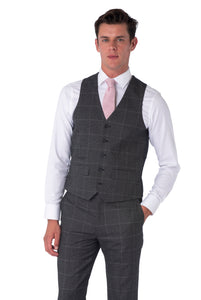 Front of Albie Grey Check Waistcoat