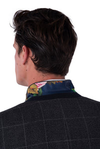 Collar Detail of Albie Grey Check Suit