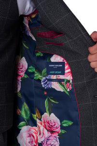 Lining Detail of Albie Grey Check Suit