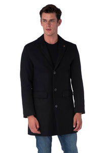 Front of Black Crombie Coat
