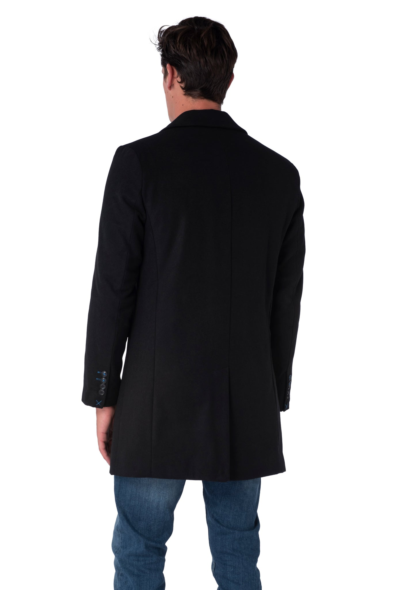 Back of Black Crombie Coat