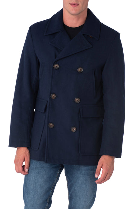 ISAAC Navy Wool Blend Peacoat