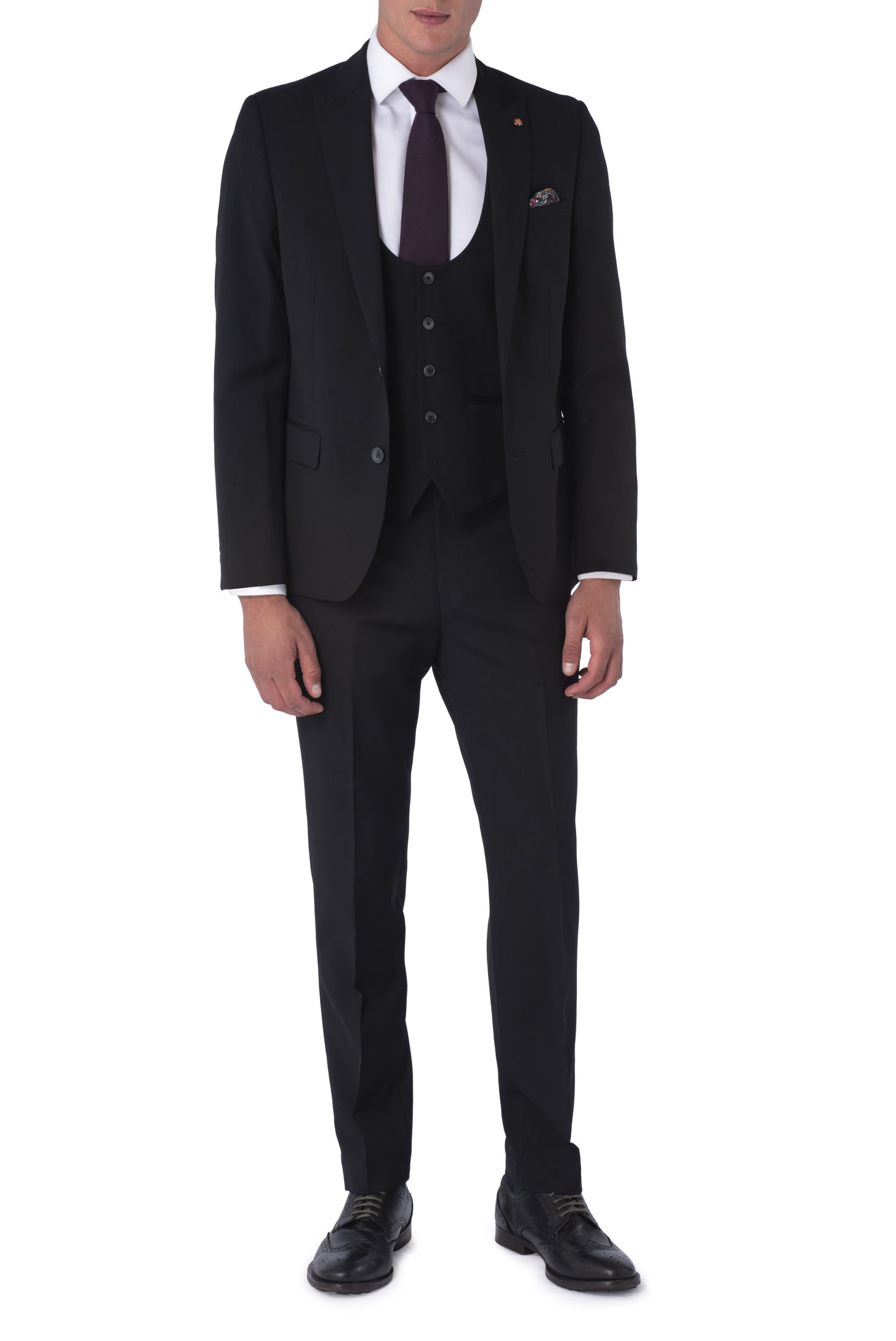 LIAM Black Three Piece Slim Fit Suit