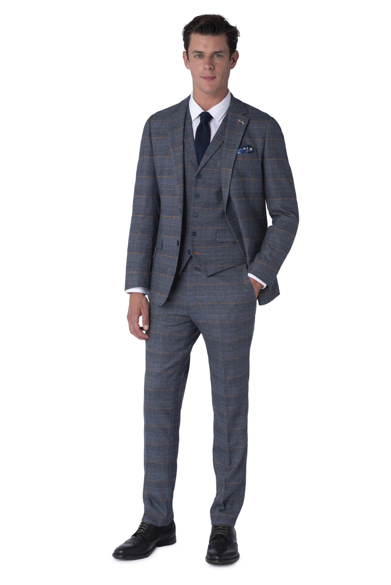 Front of CALLUM Grey & Orange Check Three Piece Suit