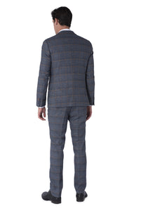 Back of CALLUM Grey & Orange Check Three Piece Suit