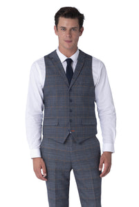 Waistcoat of CALLUM Grey & Orange Check Three Piece Suit