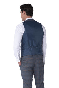 Back of Waistcoat of CALLUM Grey & Orange Check Three Piece Suit