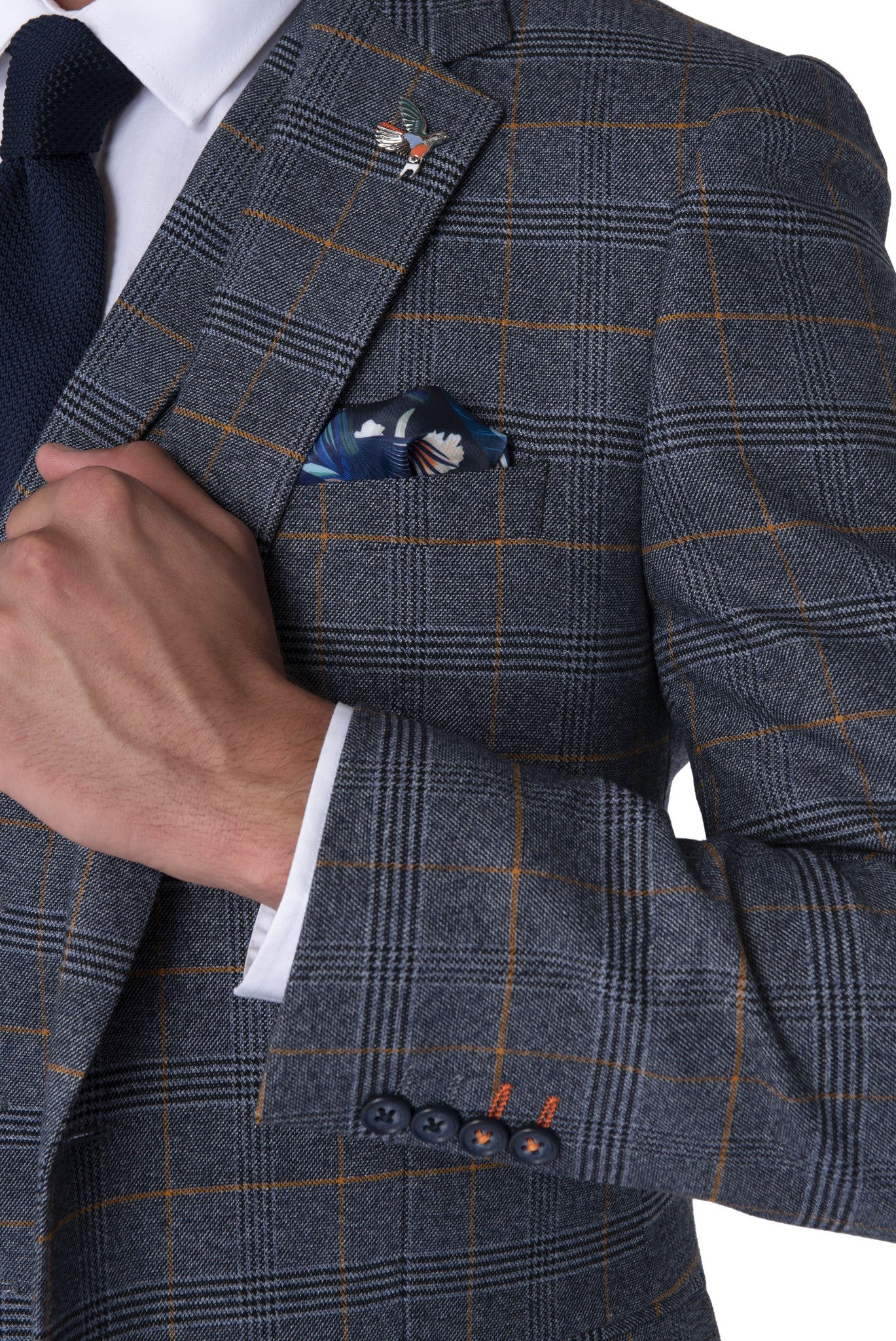 Lapel & cuff of CALLUM Grey & Orange Check Three Piece Suit