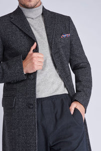 LANDON Single Breasted Grey Crombie Herringbone Coat