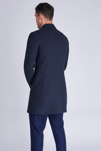 LANDON Single Breasted Blue Crombie Herringbone Coat