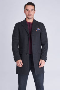 HUDSON Single Breasted Charcoal Crombie Wool Coat