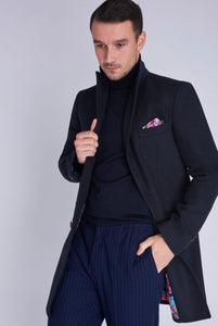 HUDSON Single Breasted Navy Crombie Wool Coat
