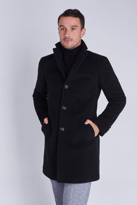 EVERETT Single Breasted Black Crombie Wool Coat