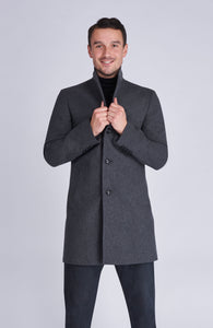 EVERETT Single Breasted Grey Crombie Wool Coat