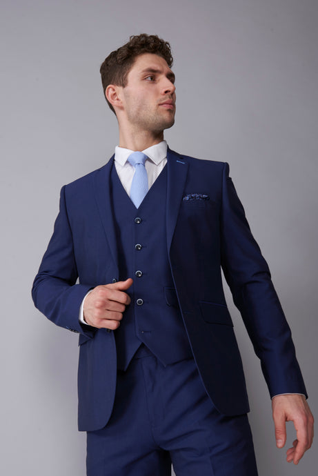 ALEXANDER Blue Three Piece Slim Fit Suit