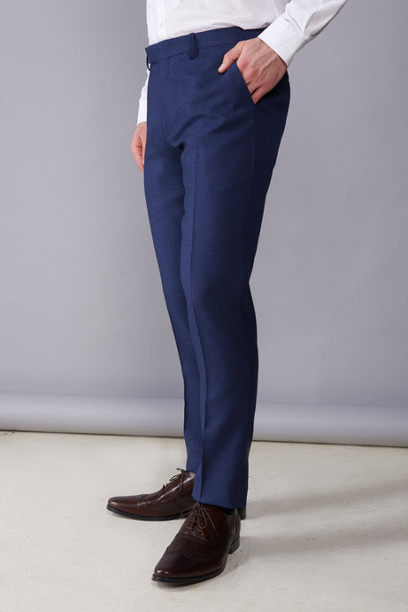 ARCHIE Navy Melange Suit Trousers