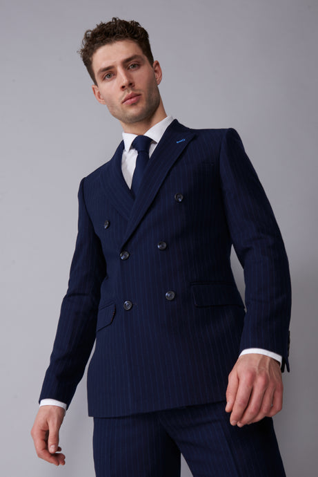 ARLO Navy Pinstripe Double Breasted Suit Jacket