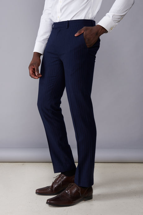 ARLO Navy Pinstripe Double Breasted Suit Trousers