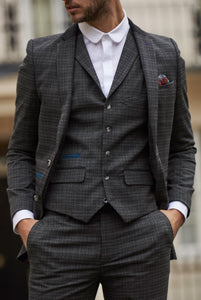 ARTHUR Charcoal Suede Trim Three Piece Suit