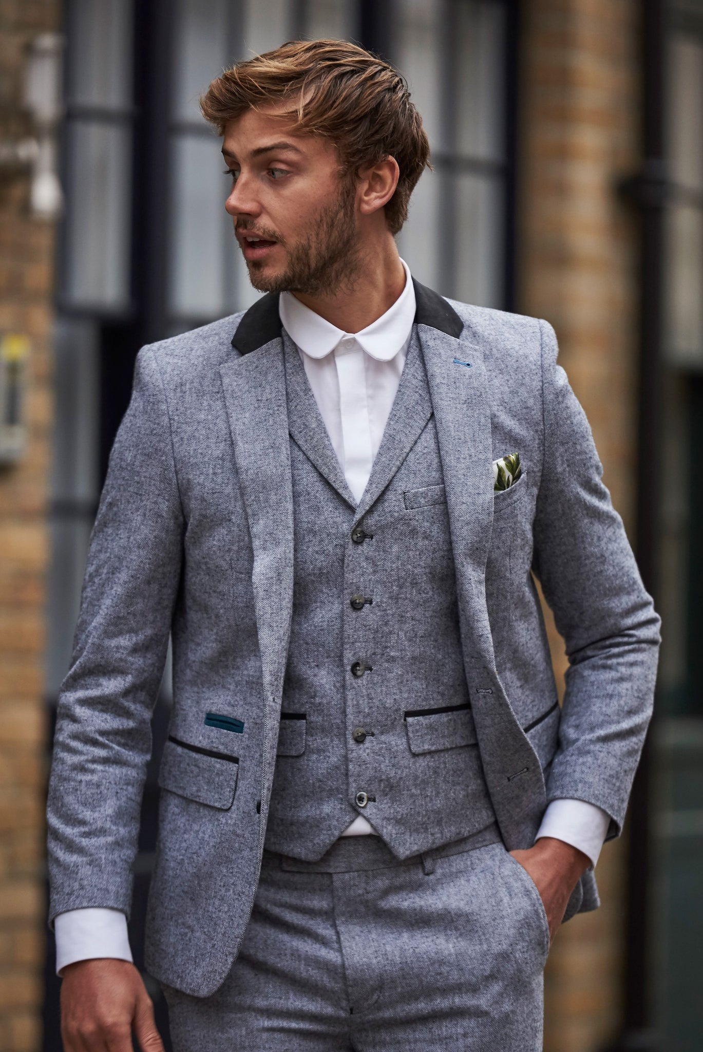 ARTHUR Grey Suede Trim Three Piece Suit
