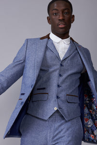 ARTHUR Blue Suede Trim Three Piece Suit