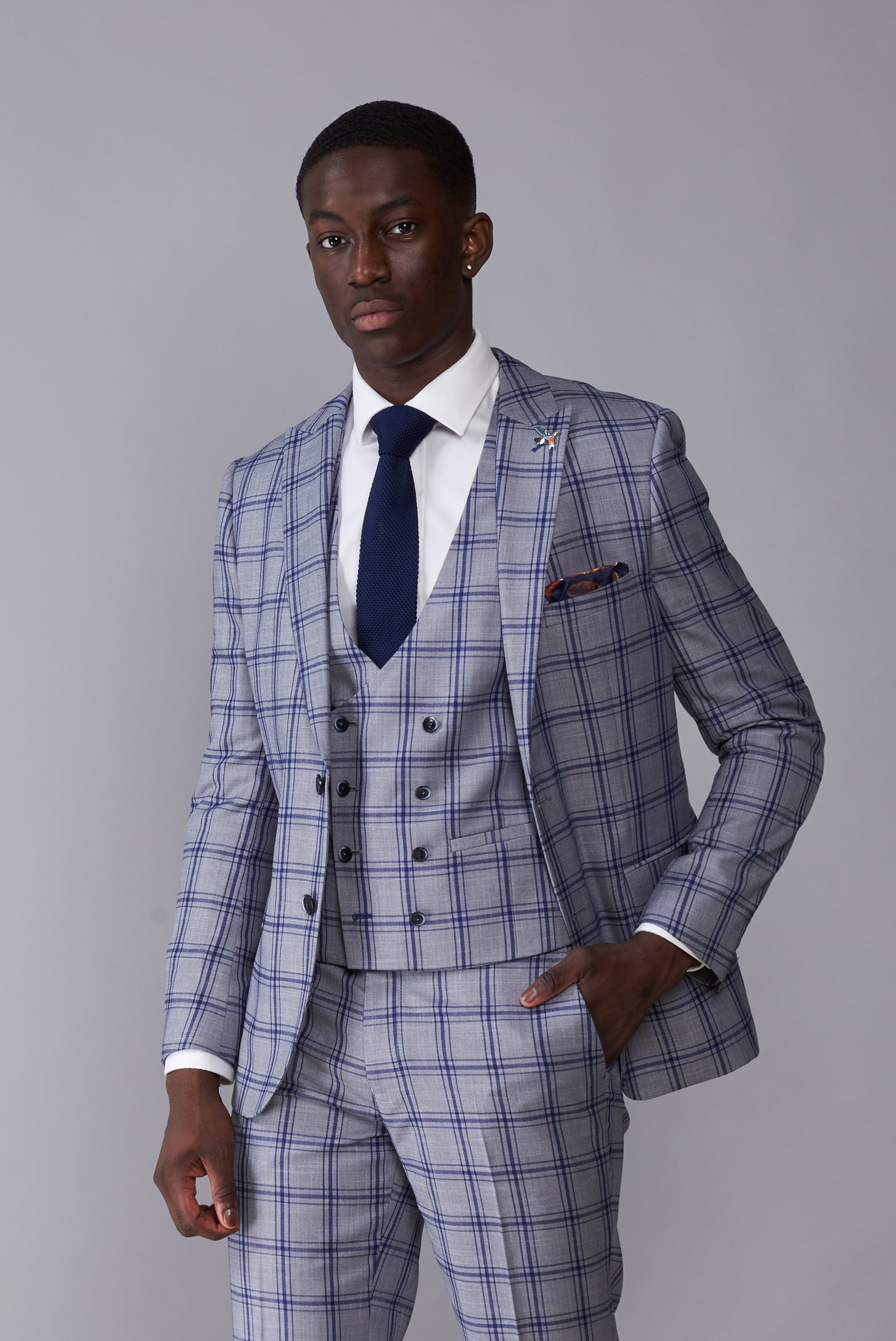 BLAKE Grey & Blue Window Check Slim Fit Suit Jacket