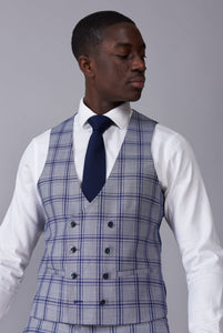 BLAKE Grey & Blue Window Check Double Breasted Waistcoat