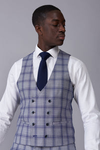 BLAKE Grey & Blue Window Check Slim Fit Suit