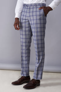 BLAKE Grey & Blue Window Check Slim Fit Suit Trousers