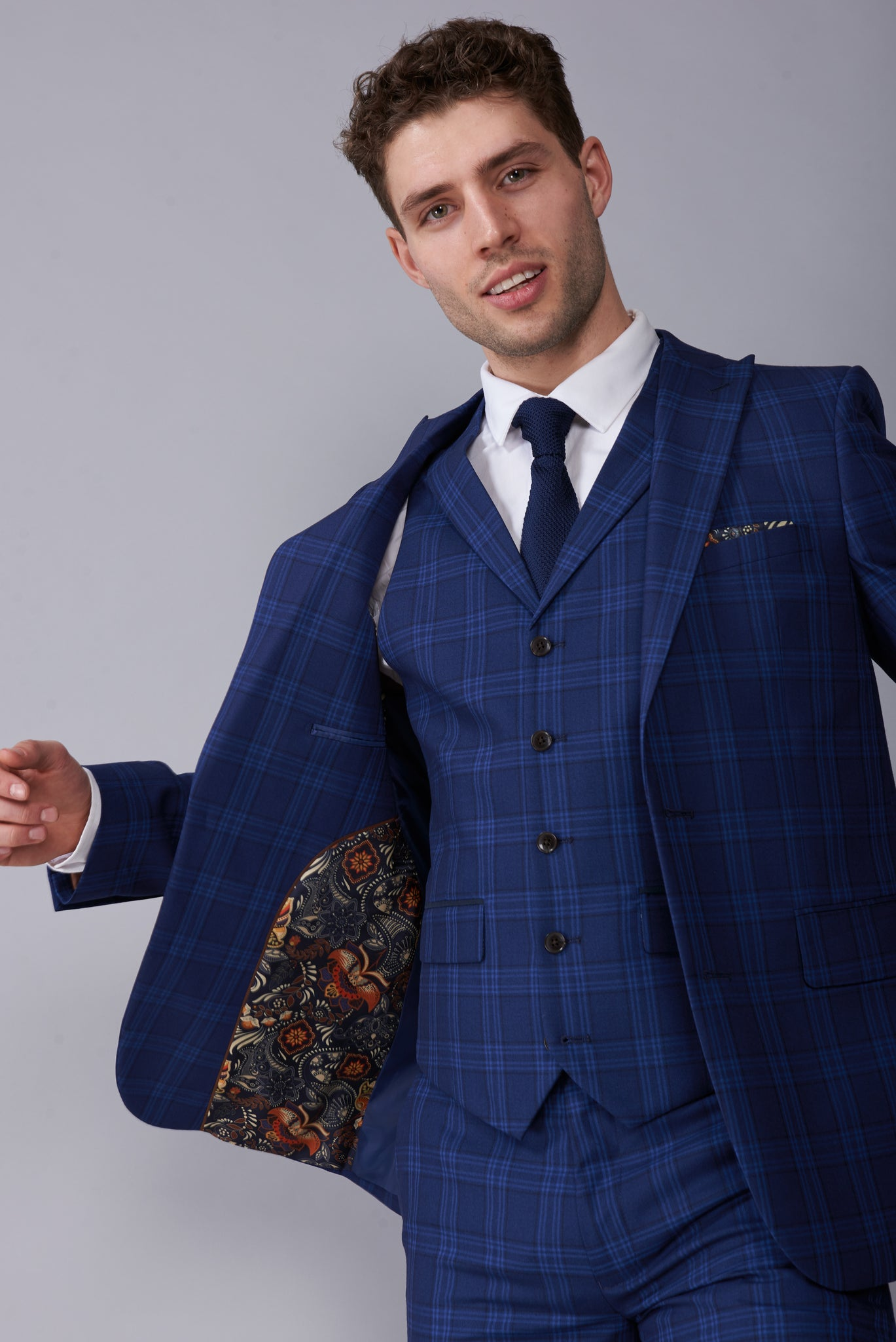 BOBBY Blue & Black Check Three Piece Suit